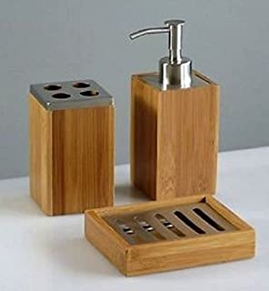 3pc Set Bamboo Wood Bathroom Accessories Dispenser Soap Dish Tooth Brush  Holder.