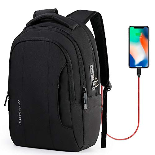 Cross Gear Laptop Backpack with USB Charging Port and Anti Theft Lock for Business Work, Travel, School, Men Women – Fits 14 Inch Laptop CR-9005IBK Black