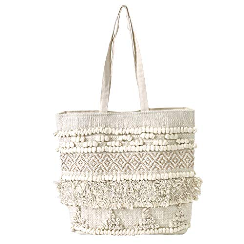 Time Concept Boho Fringe Chic Tote Bag - Gold & Natural Cotton, 3 Interior Pockets, Beach Travel Shoulder Bag