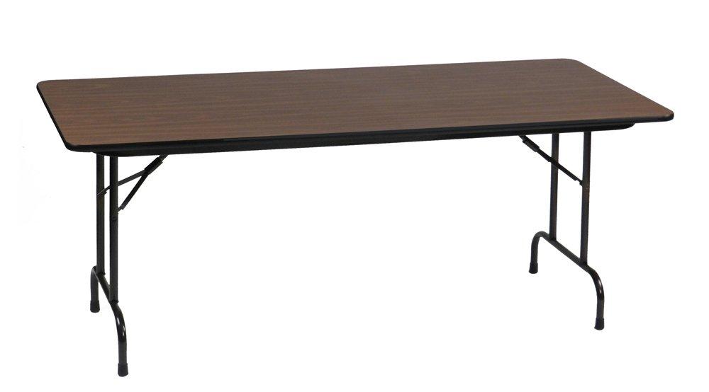 Correll CF3096M 01 Melamine Fixed Height Top Folding Table, Rectangular, 30'' Width x 96'' Length x 29'' Height, Walnut