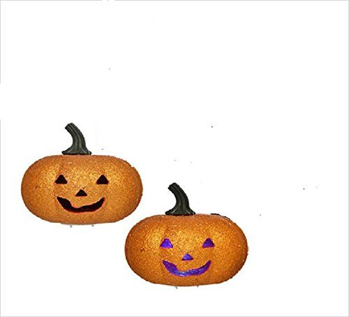 Orange Glitter LED Flashing Light Pumpkin Halloween Decoration (Pack of 2) -