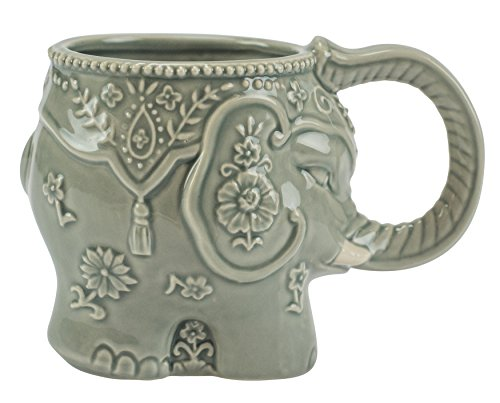 Mug, Elephant Collection, 16 oz. Capacity, Hand-painted Earthenware by Boston Warehouse
