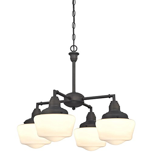 Finish White Opal (Westinghouse 6342000 Scholar Four-Light Indoor Convertible Chandelier/Semi-Flush Ceiling Fixture, Oil Rubbed Bronze Finish with White Opal Glass)
