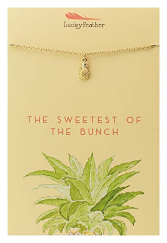 Lucky Feather Pineapple Necklace - Sweetest of The Bunch 14K Gold Dipped Pendant on Adjustable 16