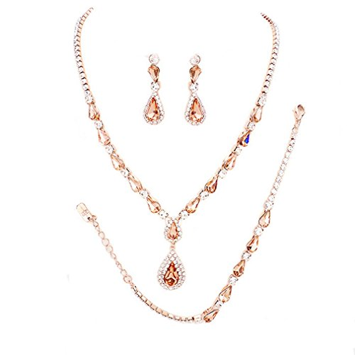 (Christina Collection Affordable Wedding Jewelry Ab Rhinestone Teardrop Elegant Set 3 Pcs Rose Gold Bracelet Earrings Necklace For Women (Peach, Rose Gold))