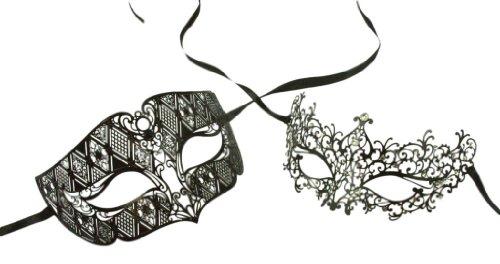 Couples Masquerade Mask (Kayso Inc Love Collection Couples Venetian Laser Cut Masquerade Mask Set,)