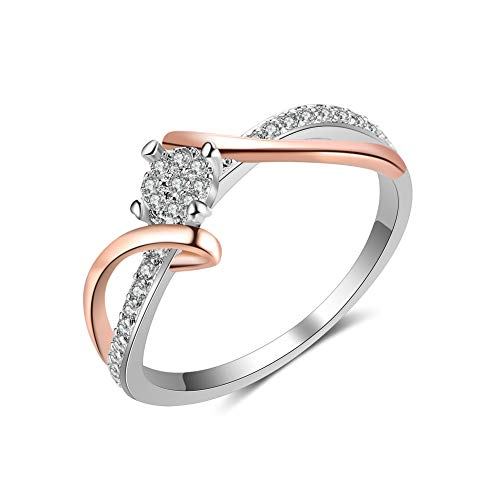 Tone Ring Swirl - Czjewelry 2 Tone Swirl Bypass Round Solitaire Cubic Zirconia Engagement Promise Rings for Women