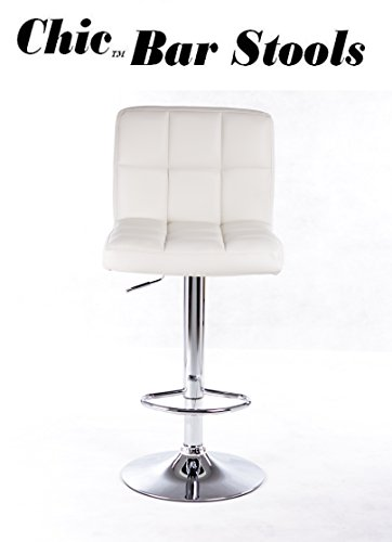 Powell Kitchen Bar Stool - Powell Quilted Faux Leather and Chrome Adjustable Height Bar Stool, White