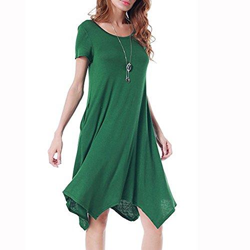 Casual collo Corte Da Vestito Plissettato Estivi Sera Verde Retrò Abito Tinta O Maniche Unita Sexy Elegante Festa Panpany Eleganti A Yf6yb7vIg