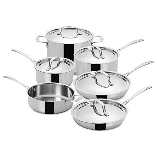 FortheChef's 10 Piece Superior Chef's Professional Tri-Ply Bottom Full Mirror-Finish Stainless Steel Cookware Set with Stainless Steel Lids, Induction-Compatible