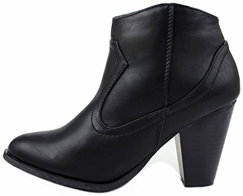 Almond Rebel01 Ankle Booties Toe Black Women Western Riding Chunky Heel Leatherette wTq6dE