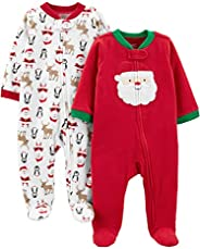 Simple Joys by Carter's Unisex-Baby 2-Pack Christmas Fleece Footed Sleep and