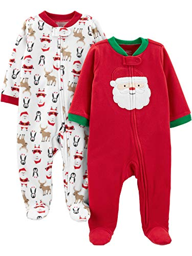 Children Christmas Clothing (Simple Joys by Carter's Baby 2-Pack Holiday Loose Fit Flame Resistant Fleece Footed Pajamas, Santa, 6-9)