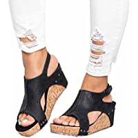 Women Summer Sandals Round Toe Breathable Rivet Beach Casual Sandals Boho Wedges Shoes