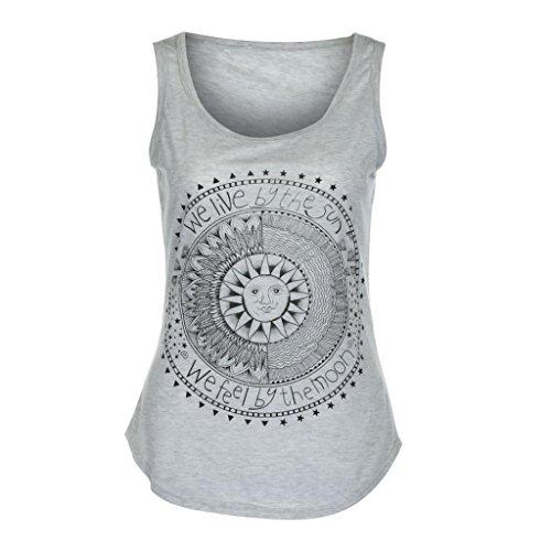 [Yoyorule Sexy Women Sun Printed Sleeveless Vest Tee Shirt Blouse Casual Tank Top (L/US 8, Gray)] (Paisley Silk Jersey)