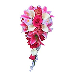 Cascade Wedding Bouquet : Shades of Pink and Ivory Artificial Flowers 67