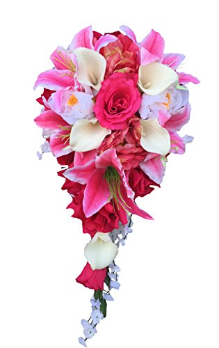 Cascade-Wedding-Bouquet-Shades-of-Pink-and-Ivory-Artificial-Flowers