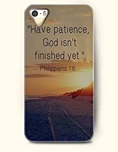 OOFIT Stylish Have Patience God Isn'T Finished Yet Philippians 1:6 Pattern Case for iPhone 4 4S -- Bible Quotes Series