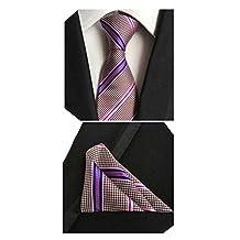 MENDENG Men's Casual Blue Red White Stripe Silk Tie Necktie Hanky 2 Pieces Sets