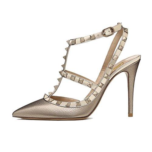 Goujons Pointu Strap Parti 45 Sangles Stiletto 35 Gold Formelle Haute Femmes Cloutées Chaussures Mode Caitlin Cheville Robe Talon Gold Bout Sandales Pan Cour UE Pattern pSH7Yxz