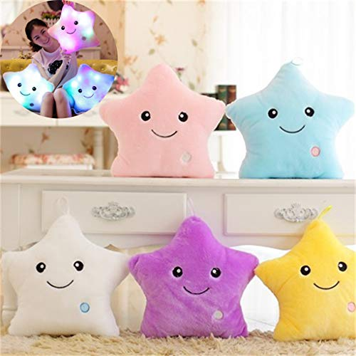 - Wffo Magical Store Decorative Pillows ♚Colorful LED Flash Lucky Star Luminous Pillow Plush Stuffed Toys ♚Best Gift for Girls Kids as a Birthday Gift or Festival Gift (Yellow)