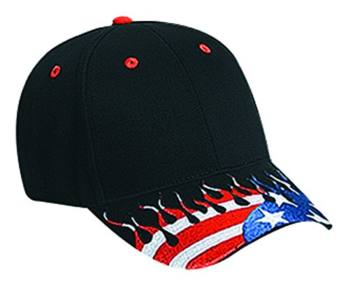 (Otto Caps United States Flag Flame Pattern Visor Brushed Cotton Twill Low Profile Pro Caps)