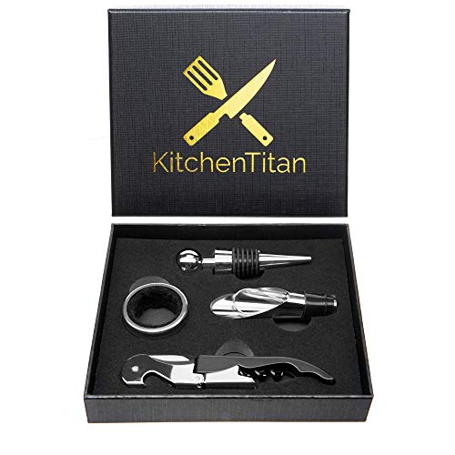 Wine Opener Corkscrew Set - All-in-one Wine Bottle Opener Corkscrew, Bottle Stopper, Drip Ring and Pour - Kitchen Titan ()