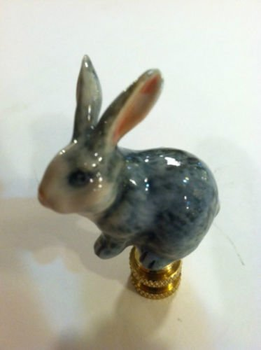 Porcelain Rabbit Finial Gray Bunny Lamp Shade Topper Lampshade Screw by Bethesda Design, LLC