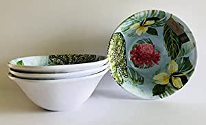 Set of 4 | Light Blue with Yellow | Pink | Red Flowers | Multi Color Green Leaves On A Round Melamine | Soup | Cereal | Salad | Dessert Bowls | 7 inches x 2.75 inches
