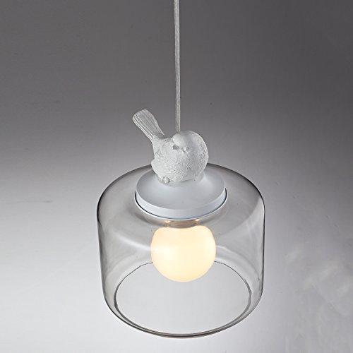 Frideko Vintage Village Glass Bird Nest Lampshade Loft Ceiling Pendant Light for Children's Room Restaurant Pub (Type A) (Heater Nest Bird)