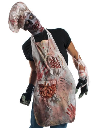 [Rubie's Costume Zombie Shop Butcher's Apron, Red/White, One Size] (Zombie Ribs Costume)