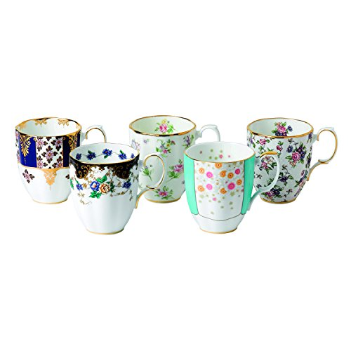 Royal Albert 5 Piece 100 Years 1900-1940 Mug Set, 14.1 oz, Multicolor (Mug Royal Bone China Albert)