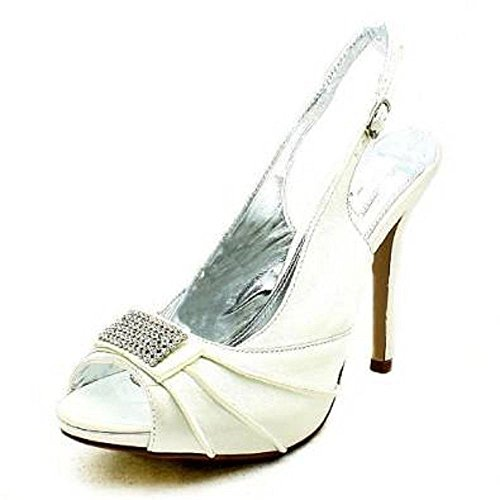 SendIt4Me Ladies Satin High Heel Sling Back Prom Shoes with Diamante Front Ivory C2VqgXJ4