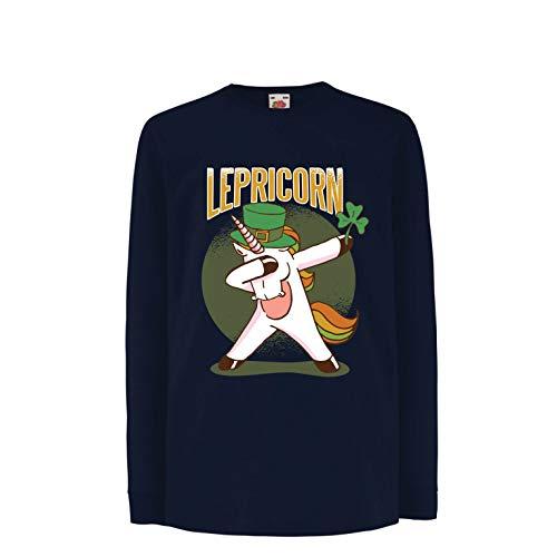 lepni.me Kids T-Shirt Dabbing Lepricorn, Irish Unicorn St Patricks Day Shirt (12-13 Years Blue Multi Color) 12 Years Irish Wine