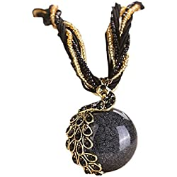 Doinshop Luxury Women's Bohemian Rhinestone Necklace Peacock Gem Pendant Statement (black)