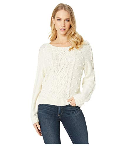 cupcakes and cashmere Women's Genivie Cable Sweater w/Pearl Details, Ivory, Extra Small