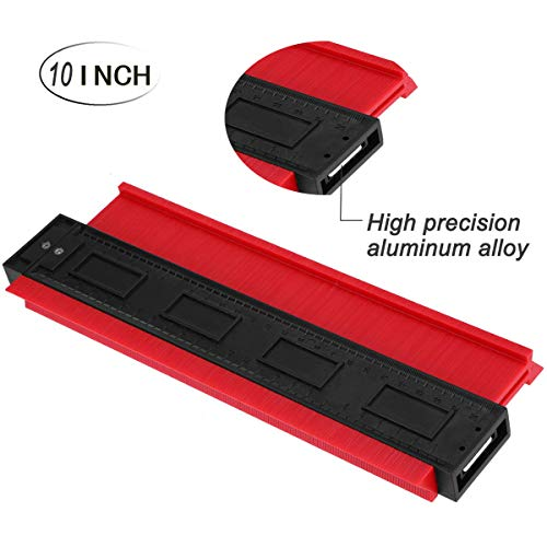 Contour Gauge Duplicator,Mkcase Woodworking High Accuracy Contour Shape Tracing Template Measuring Tool - Profile Jig Guide -Pipe Tile Frame Gauge -Layout Copy Tool (Red)