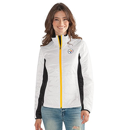 GIII For Her NFL Pittsburgh Steelers Women's Grand Slam Full Zip Jacket, XX-Large, White