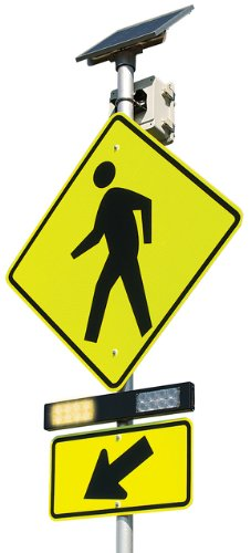 RRFB-XL Pushbutton Activated Crosswalk System with Solar Power & Wireless Technology, Incl 2 13' Poles
