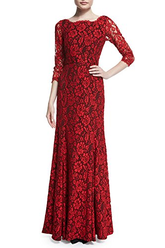 Viwenni Women's Lace 2/3 Sleeves Long Bridesmaid Prom Homecoming Gown Long Dress(red,L)