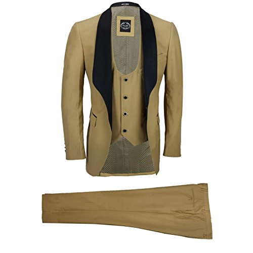 XPOSED Mens 3 Piece Wedding Suit Black Shawl Lapel Tailored Fit Dinner Tux Jacket Waistcoat Trousers [Chest UK 44 EU 54,Trouser 38'',Champagne Gold] by XPOSED