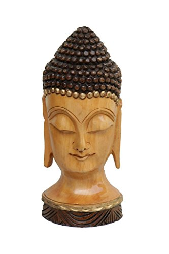 TUZECH Antique Indian Craft Rajasthan Pink City Unique Wooden Traditional Handmade Handicraft Lord Buddha Head Face Statue Decorative Gift Item Home Decor Special Sale New by Tuzech