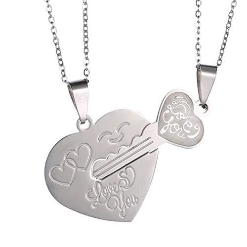 CARSINEL 2PCS Acero Inoxidable Love You Las Llaves y el Amor Puzzle Matching Pareja Collar Colgante para Mujeres Hombres(Key and Heart)