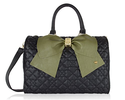 Betsey Johnson Heart Quilted Spot Bow Carry On Weekender Travel Duffel Bag - Olive