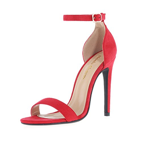 (Women's Open Toe Stiletto High Heel Ankle Strap Sandals for Dress Wedding Party Evening Shoes Velvet Red Size 6.5)