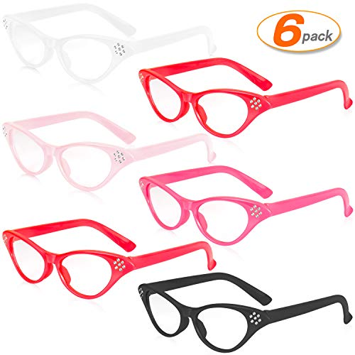 6 Pairs Cat Eye Glasses Costume Cateye Sunglasses with Rhinestones For 50's 60's Theme Party Retro Costume Dress Up Party ()