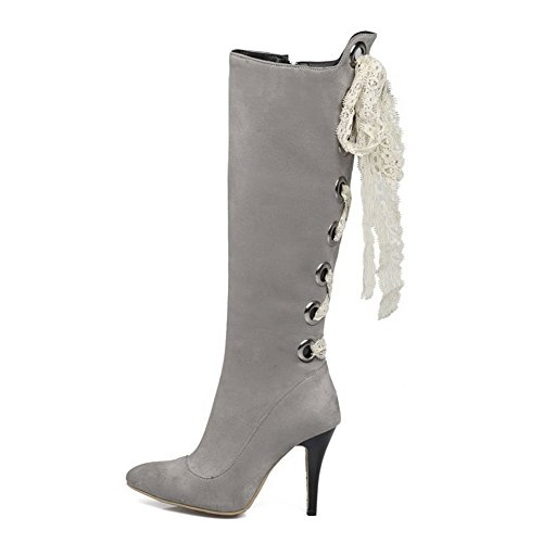 Toe Solid Pointed Suede Closed High Imitated Allhqfashion Zipper Gray Boots Women's Heels x7IOwYq