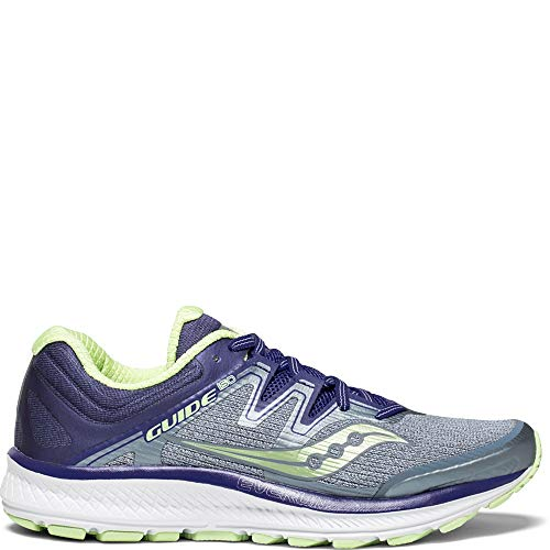 Saucony Women's Guide ISO Running Shoe, Fog/Purple, 9 Wide US