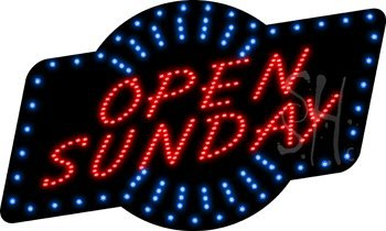 """Open Sunday Animated Outdoor LED Sign 18"""" Tall x 30"""" Wide..."""