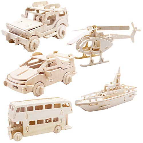 Traffic Transportation 3D Wooden Puzzle, Car Bus Helicopter Patrol Boat Jeep DIY Models Set Puzzle Gift Brain Teaser Toy for Kids Adult
